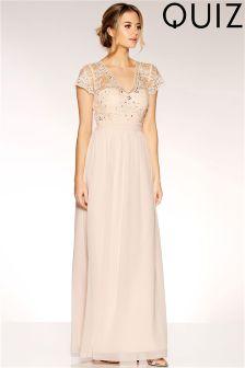 Quiz Chiffon Embellished Bodice Maxi Dress