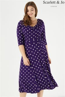 Scarlett & Jo Lollidot Cowl Neck 40s Dress
