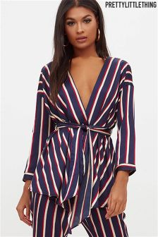 PrettyLittleThing Low Neck Wrap Shirt