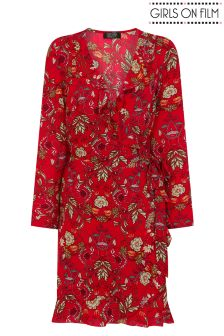 Girls On Film Floral Print Wrap Dress