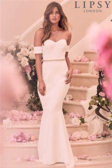 Lipsy Bridal Bandeau Diamanté Detail Maxi Dress
