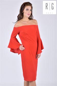 Sukienka midi Rage, z odkrytymi ramionami