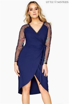 Little Mistress Curve Wrap Dress With Embroidered Sleeves