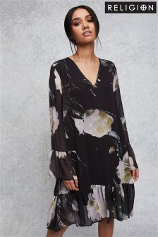 Religion Floral Print Smock Dress