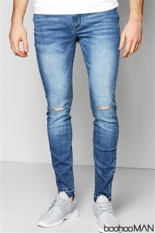Boohoo Man Skinny Stretch Fit Ripped Knee Jeans