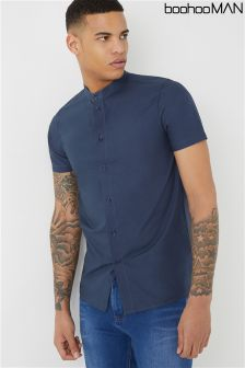 Boohoo Man Slim Fit Short Sleeve Collar Shirt