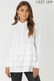 Lost Ink Layered Hem Cotton Shirt