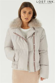 Lost Ink Faux Fur Collar Jacket