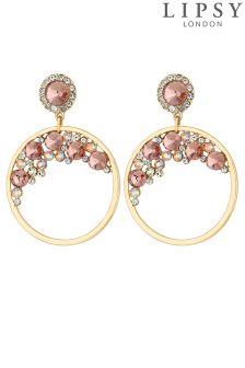 Lipsy Crystal Hoop Drop Earrings