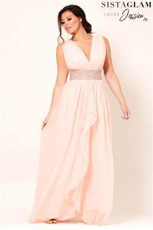 Jessica Wright V neck Chiffon Maxi Bridesmaid Dress