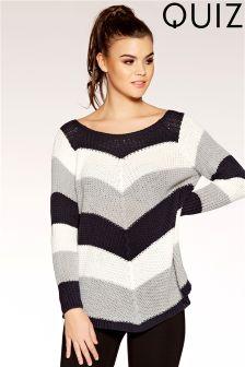 Quiz Knitted Stripe Long Sleeve Jumper