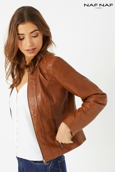 Naf Naf Fitted Leather Jacket