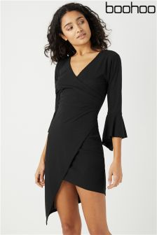 Boohoo Core Frill Sleeve Asymmetric Wrap Dress