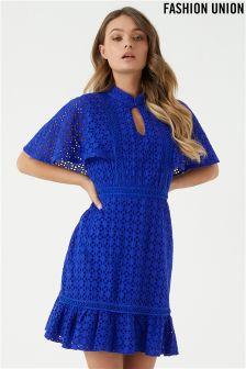 Fashion Union Lace Ruffle Hem Dress