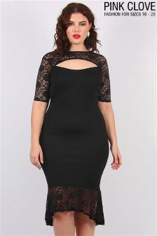 Pink Clove Curve Lace Insert Dress