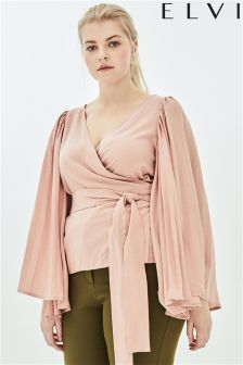 Elvi Luster Wrap Top With Pleated Sleeves