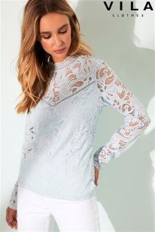 Vila High Neck Lace Blouse