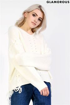 Glamorous Lace Up Knitted Jumper