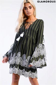 Glamorous Embroidered Smock Dress