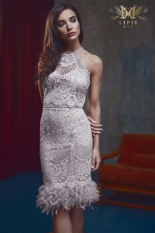 Lipsy VIP Lace Embroidered Feather Hem Dress