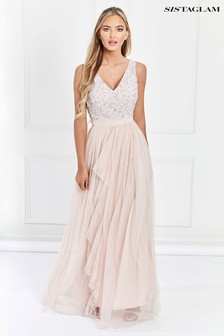 Sistaglam V neck Maxi With Sequined Top