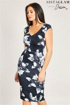 Облегающее платье с открытыми плечами и цветочным принтом Jessica Wright
