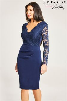 Jessica Wright Rouched Waist Lace Bodycon Dress