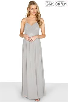 Girls On Film Chiffon Pleat Front Detail Strappy Maxi Dress