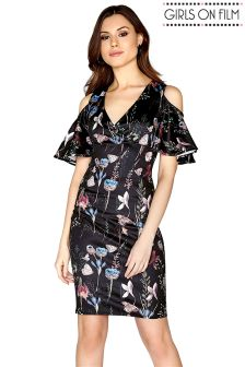 Girls On Film Based Floral Printed Cold Shoulder Bodycon Dress