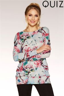 Quiz Light Knit Floral Butterfly Print Top