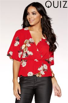 Quiz Floral Print Wide Sleeve Crossover Front Top