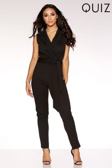 Quiz Crepe Cross Over Frill Sleeve Jumpsuit