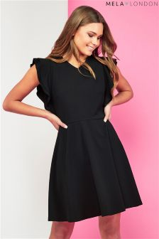 Mela London Side Ruffle V Neck Dress