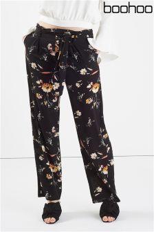 Boohoo Floral Print Highwaist Trouser With Belt