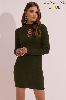 Sunshine Soul High Neck Bodycon Dress