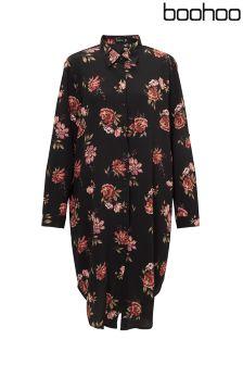Boohoo Plus Floral Midi Shirt Dress