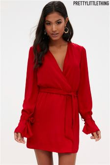 PrettyLittleThing Satin Wrap Cuff Detail Shift Dress