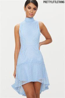 PrettyLittleThing High Neck Crochet Dress