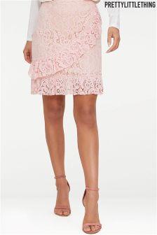 PrettyLittleThing Lace Ruffle Skirt