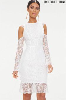 PrettyLittleThing Cold Shoulder Ruffle Dress