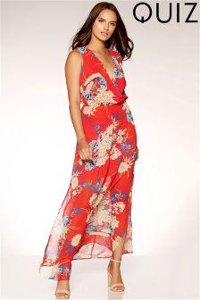 Quiz Oriental Print Cross Over Front Maxi Dress