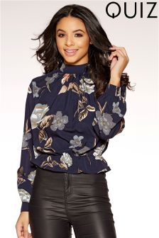 Quiz High Neck Long Sleeve Floral Print Top