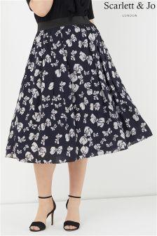 Scarlett & Jo Bow Print Full Skirt