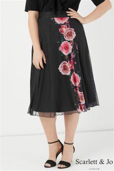 Scarlett & Jo Rose Print A line Skirt