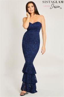 Jessica Wright Sequin Frill Hem Maxi Dress