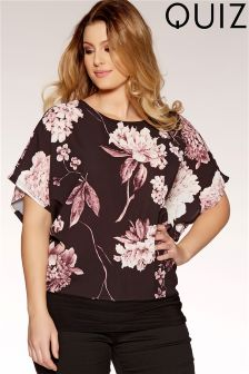 Quiz Curve Floral Batwing Sleeves Top