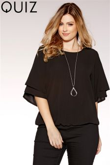 Quiz Curve Double Frill Sleeve Necklace Top