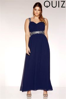 Quiz Curve Chiffon V Neck Embellished Maxi Dress