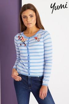 Yumi Striped Embroidered Cardigan