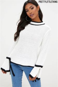 PrettyLittleThing Contrast Edge Tie Sleeve Detail Jumper